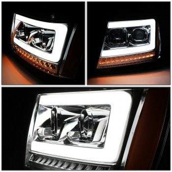 Хромированная линзованные фары с декоративной LED подсветкой CHEVROLET Tahoe / Avalanche