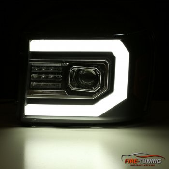 Черные линзованные фары с декоративной LED подсветкой GMC Sierra