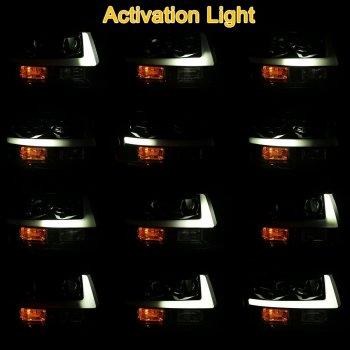 Черные линзованные фары с декоративной LED подсветкой CHEVROLET Tahoe с бегущей полосой