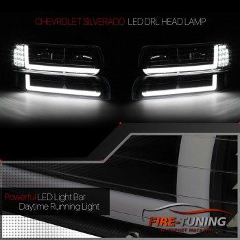 Черные фары с декоративной LED подсветкой CHEVROLET Tahoe