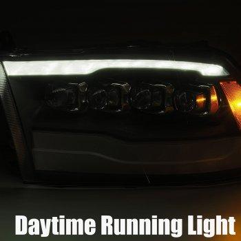 Черные линзованные фары с декоративной LED подсветкой DODGE Ram