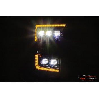 Новинка сентября 2020 года. Черные линзованные светодиодные фары с декоративной LED подсветкой FORD F150