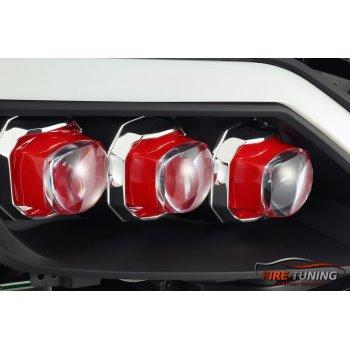 Черные линзованные светодиодные фары с декоративной LED подсветкой INFINITI G37