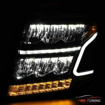 Черные светодиодные фары с декоративной подсветкой CHEVROLET Tahoe