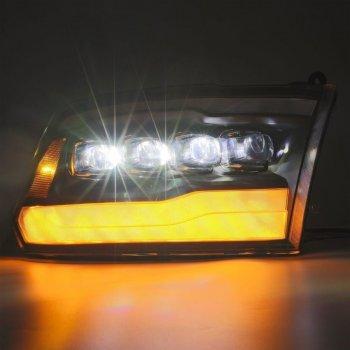 Светодиодные линзованные фары с декоративной LED подсветкой DODGE Ram